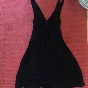 Deep V free people little black dress